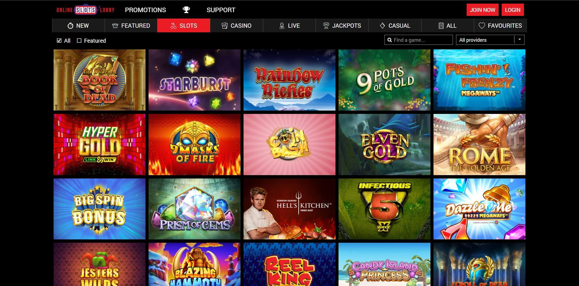 Games at OnlineSlotsLobby Casino