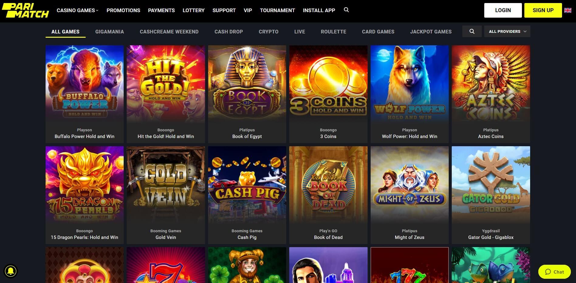 Games at PariMatch Casino