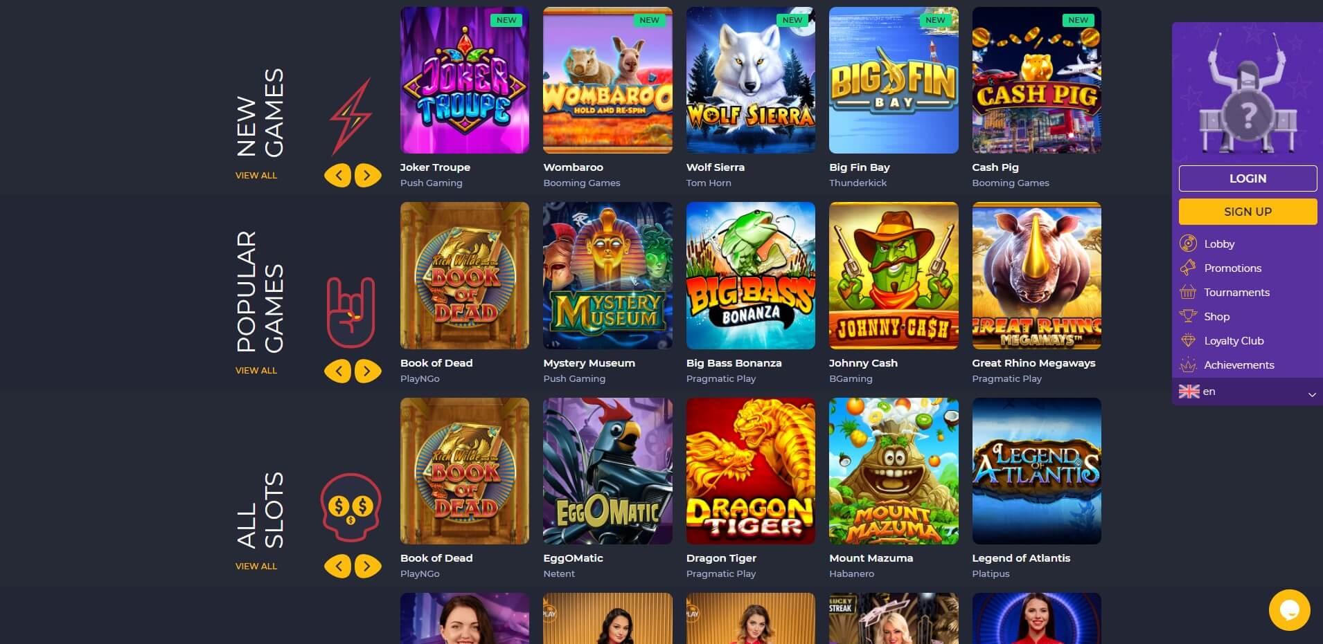 Games at RollingSlots Casino