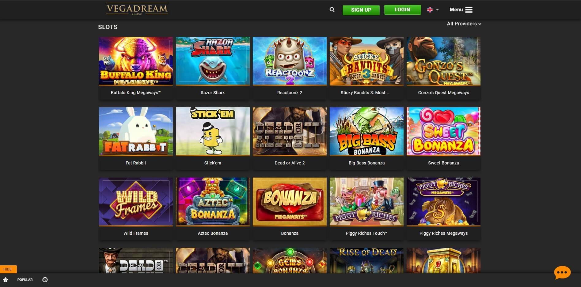 Games at VegaDream Casino