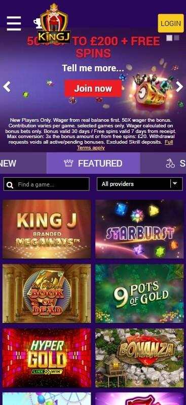 KingJ Casino - Mobile Version