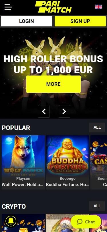 PariMatch Casino - Mobile Version