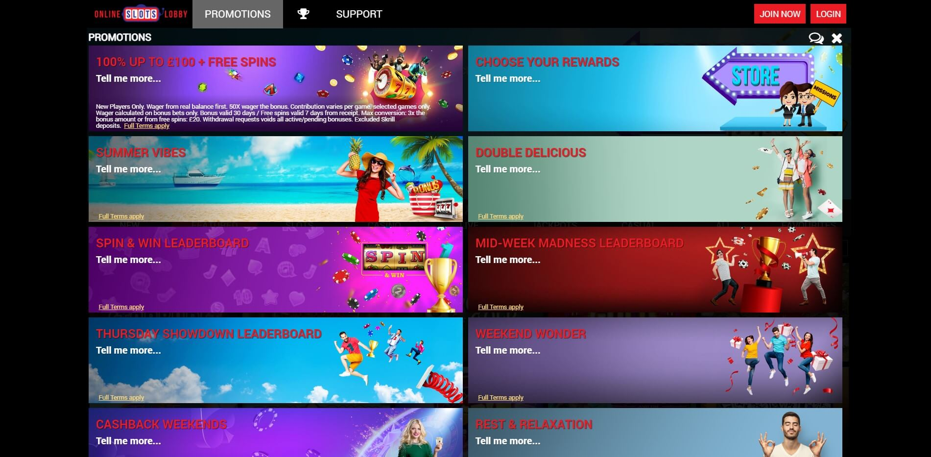 Promotions at OnlineSlotsLobby Casino