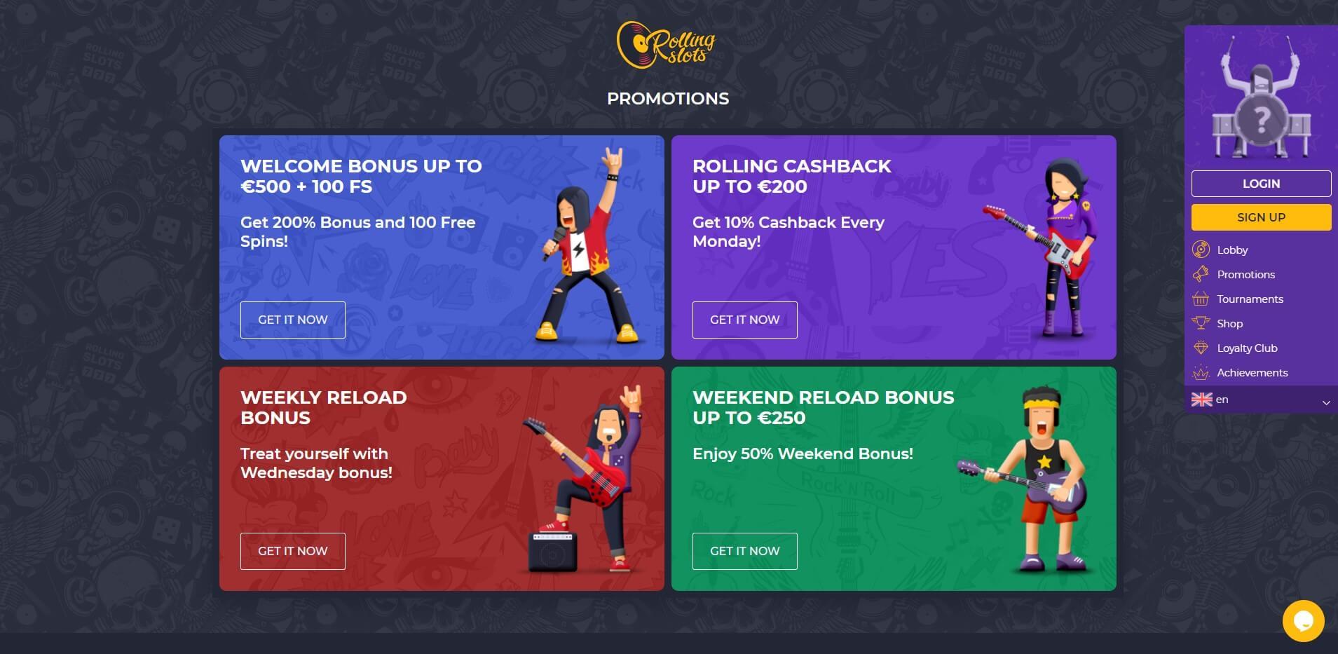 Promotions at RollingSlots Casino
