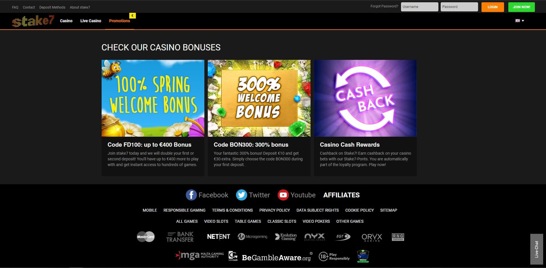 Promotions at Stake7 Casino