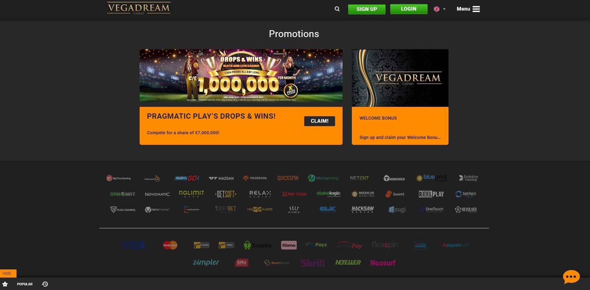 Promotions at VegaDream Casino