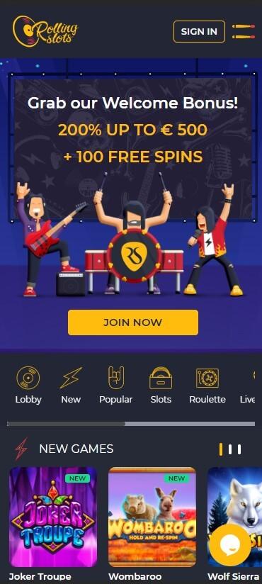 RollingSlots Casino - Mobile Version