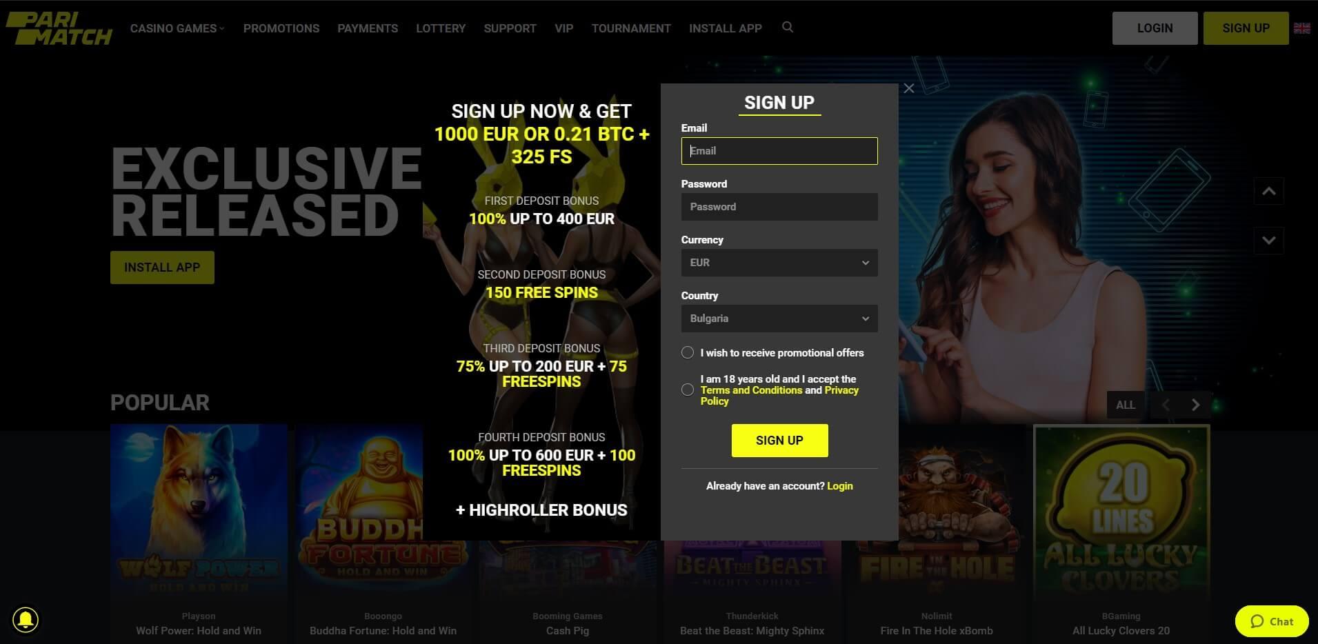 Sign Up at PariMatch Casino