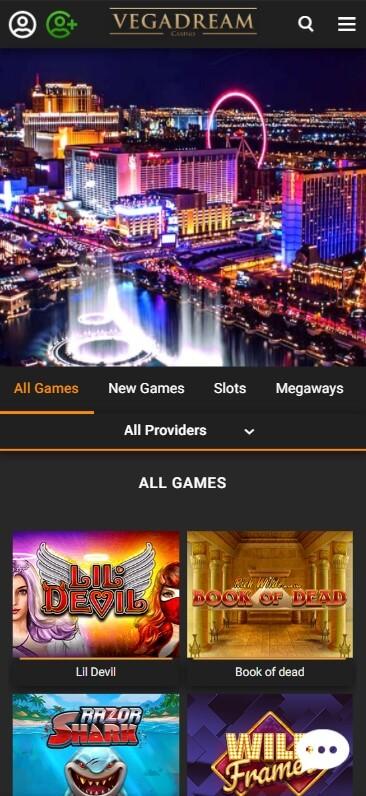 VegaDream Casino - Mobile Version