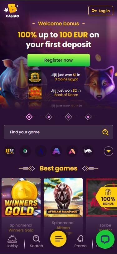 Bizzo Casino - Mobile Version