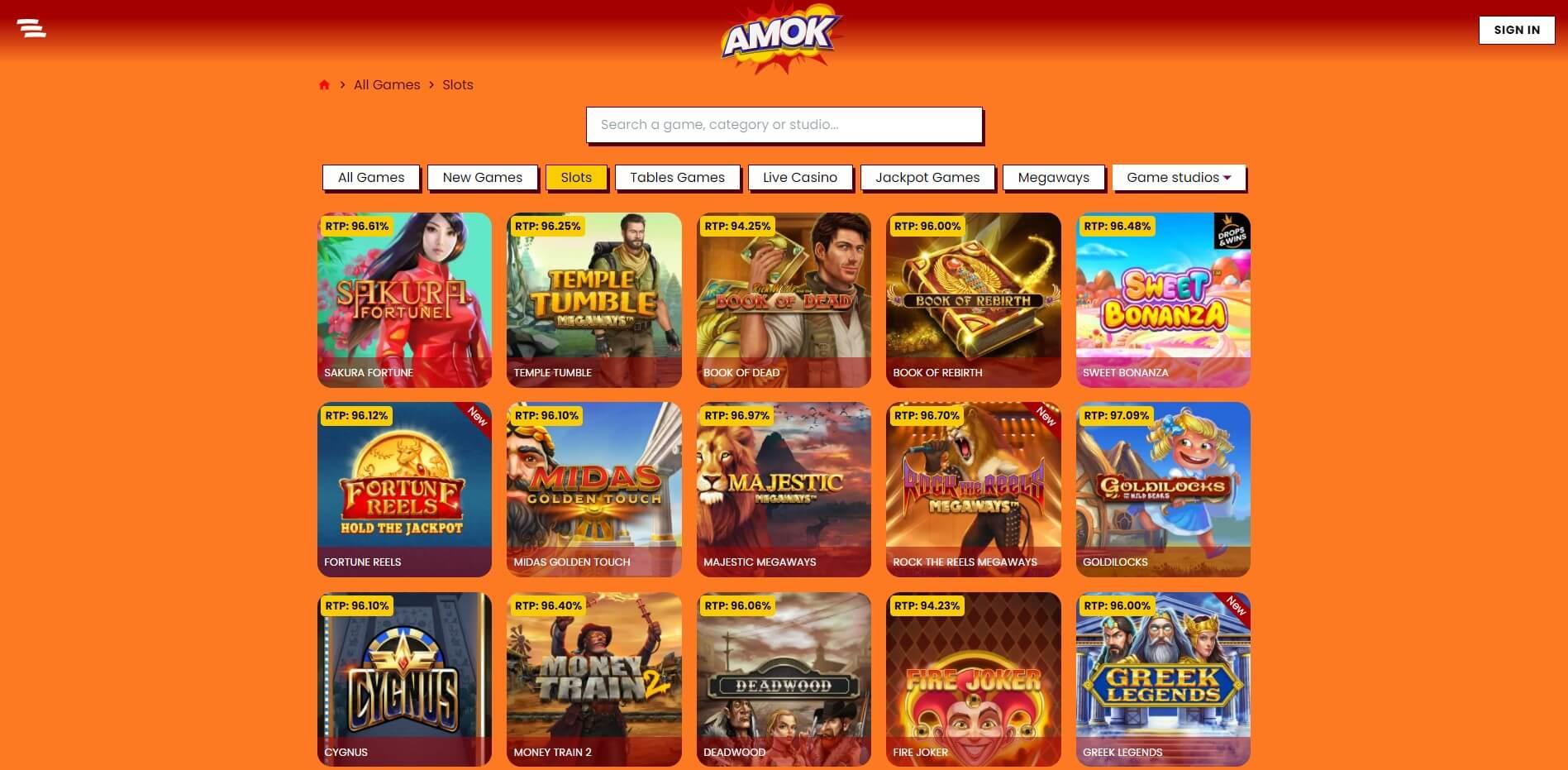 Games at Amok Casino