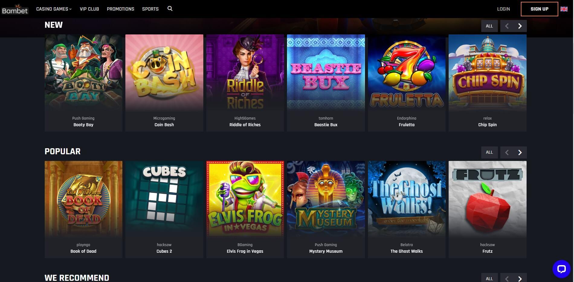 Games at Bambet Casino