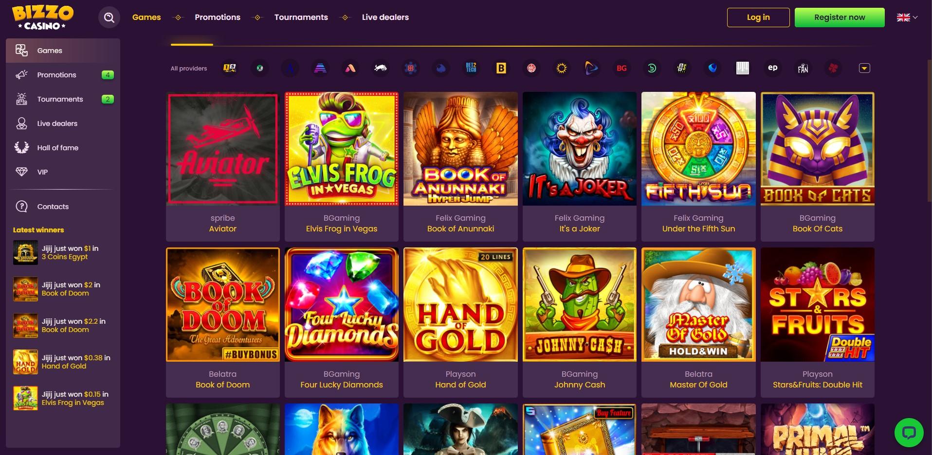 Games at Bizzo Casino