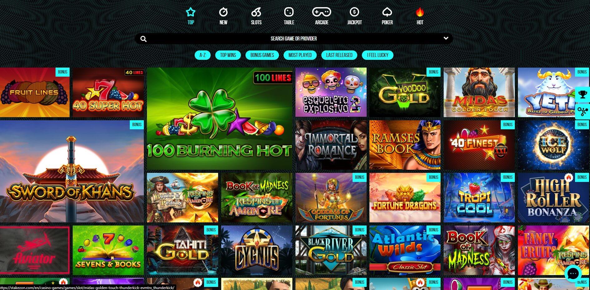 Games at Stakezon Casino