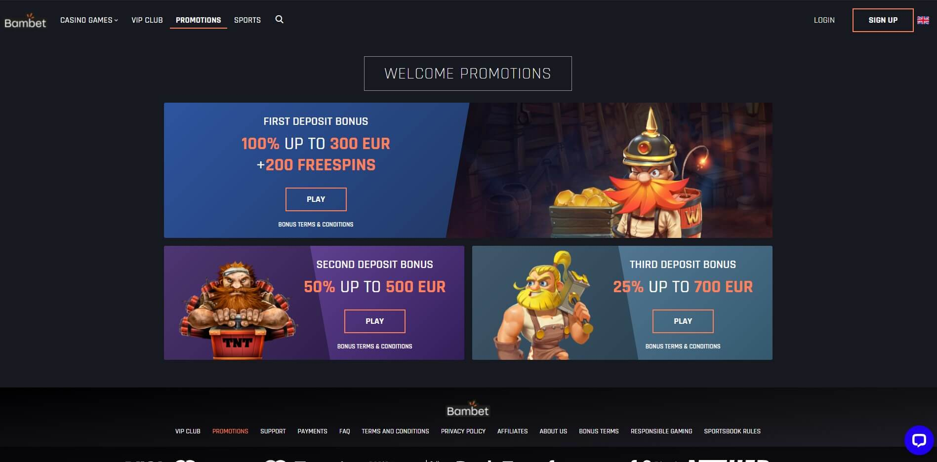Promotions at Bambet Casino