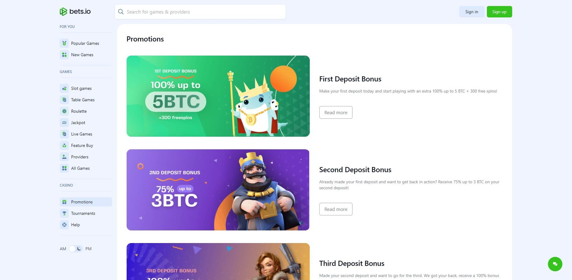 Promotions at Bets.io Casino