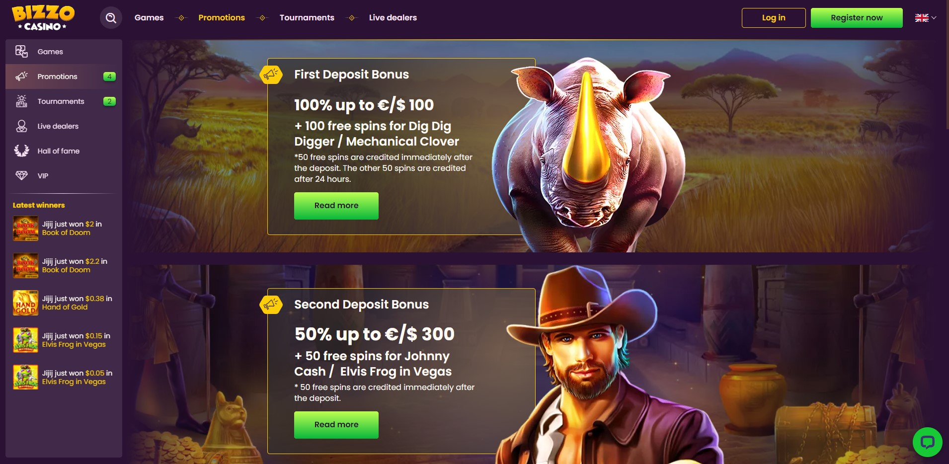 Promotions at Bizzo Casino