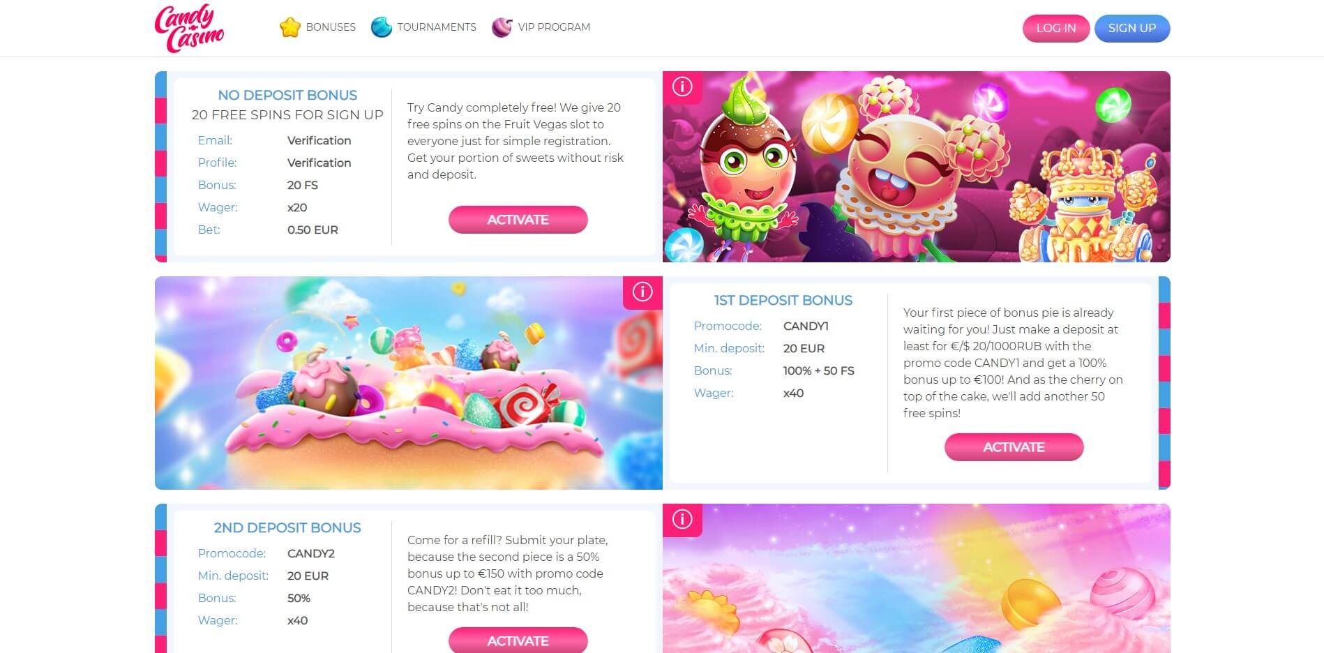 Promotions at Candy Casino