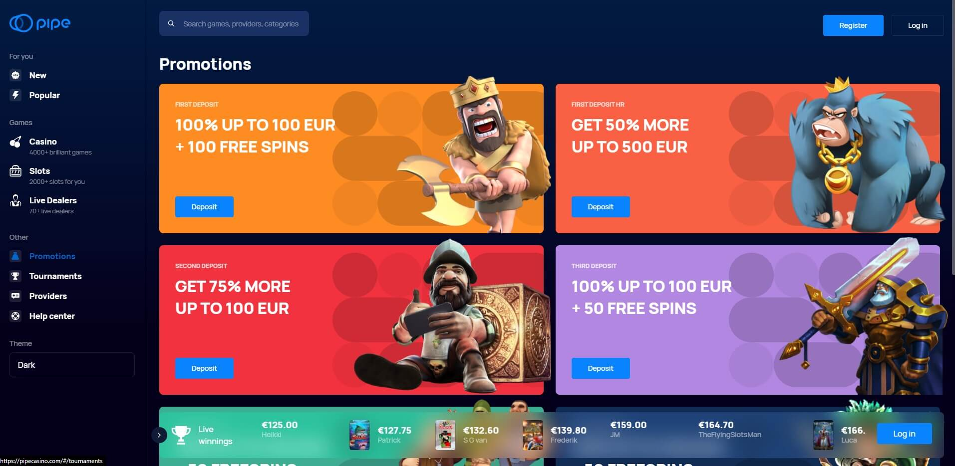 Promotions at Pipe Casino