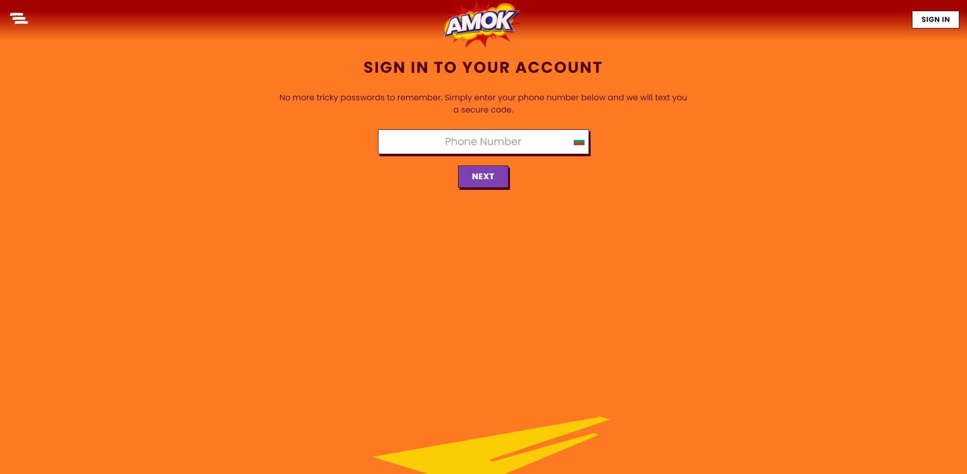 Sign Up at Amok Casino