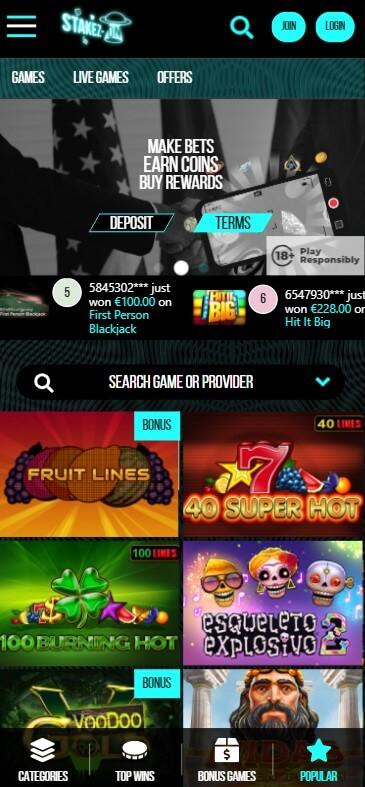 Stakezon Casino - Mobile Version