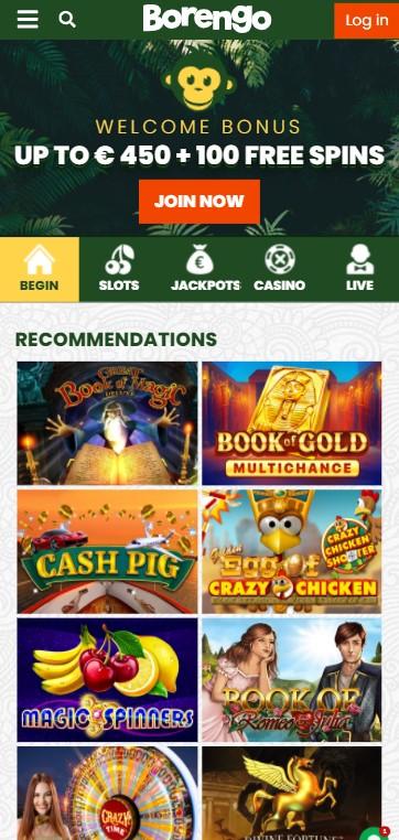 Borengo Casino - Mobile Version