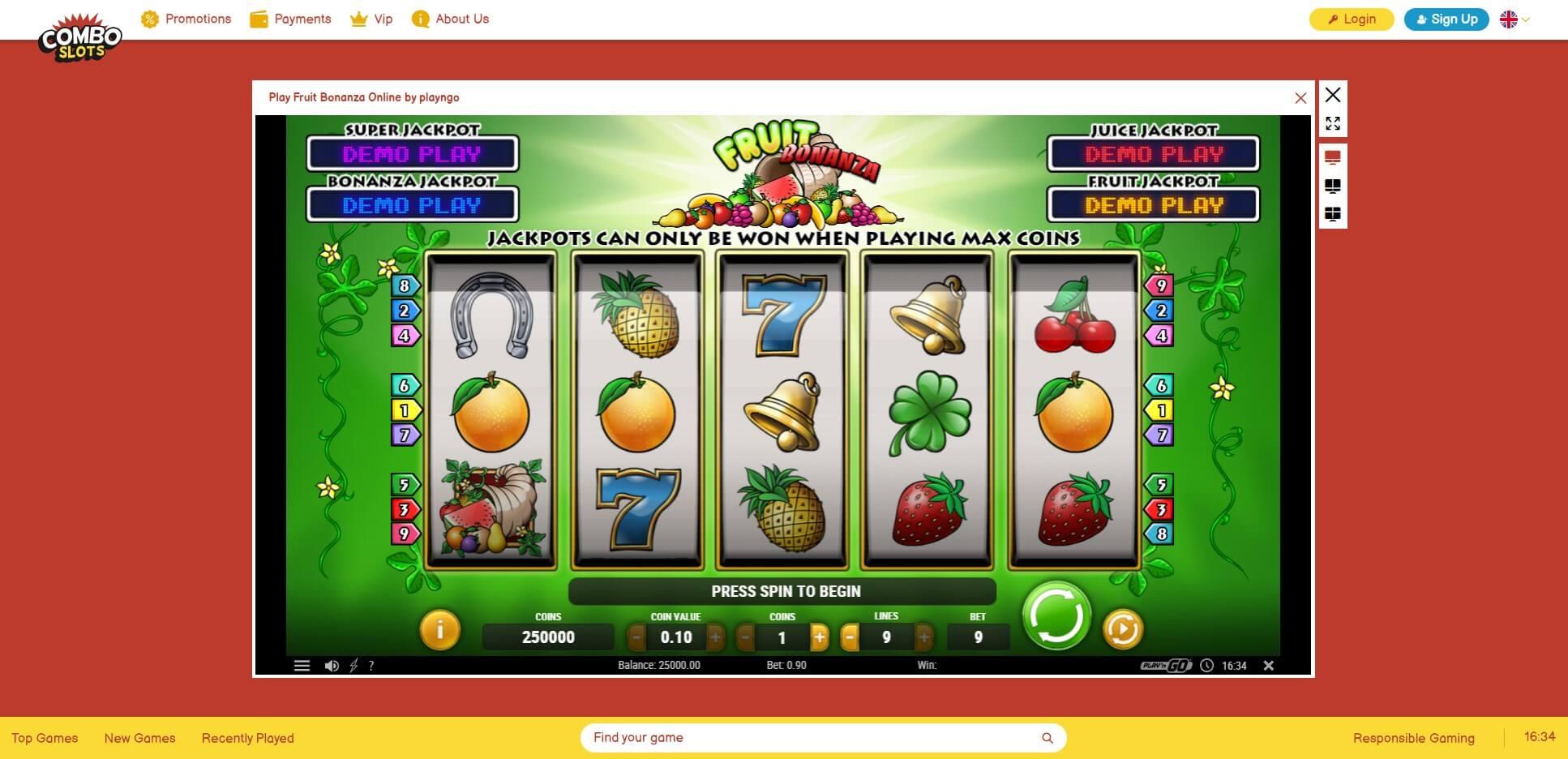 Game Play at Comboslots Casino