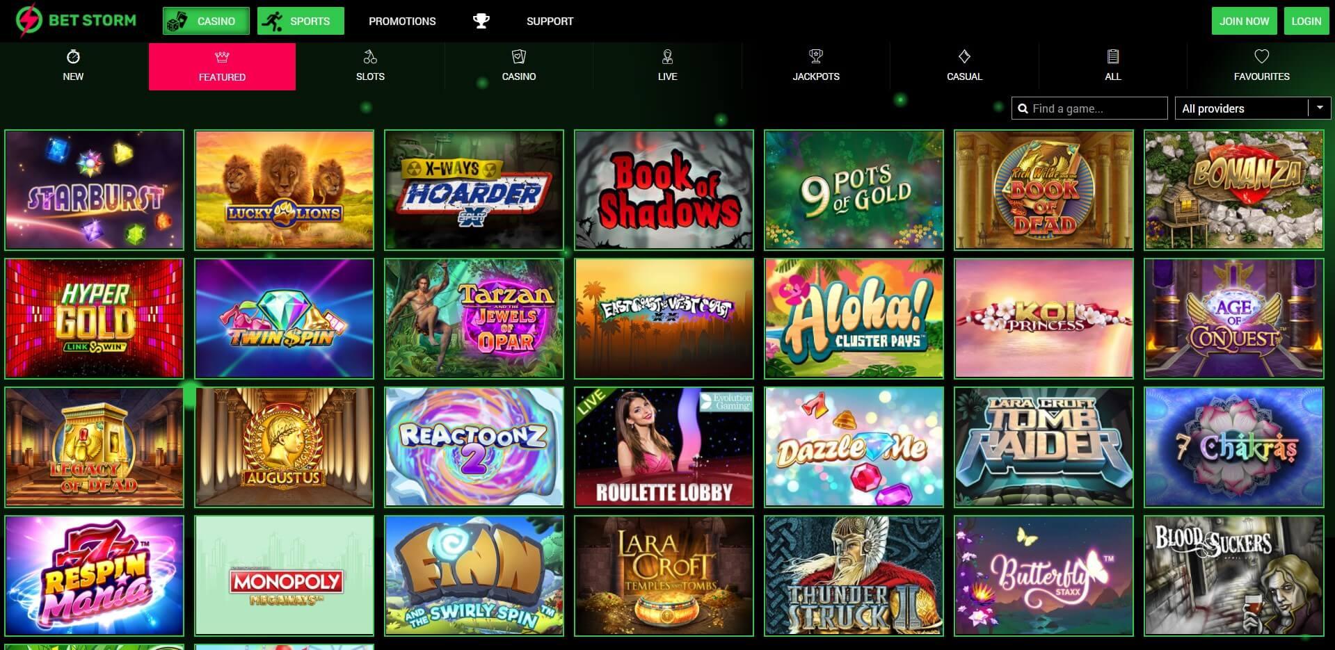 Games at BetStorm Casino