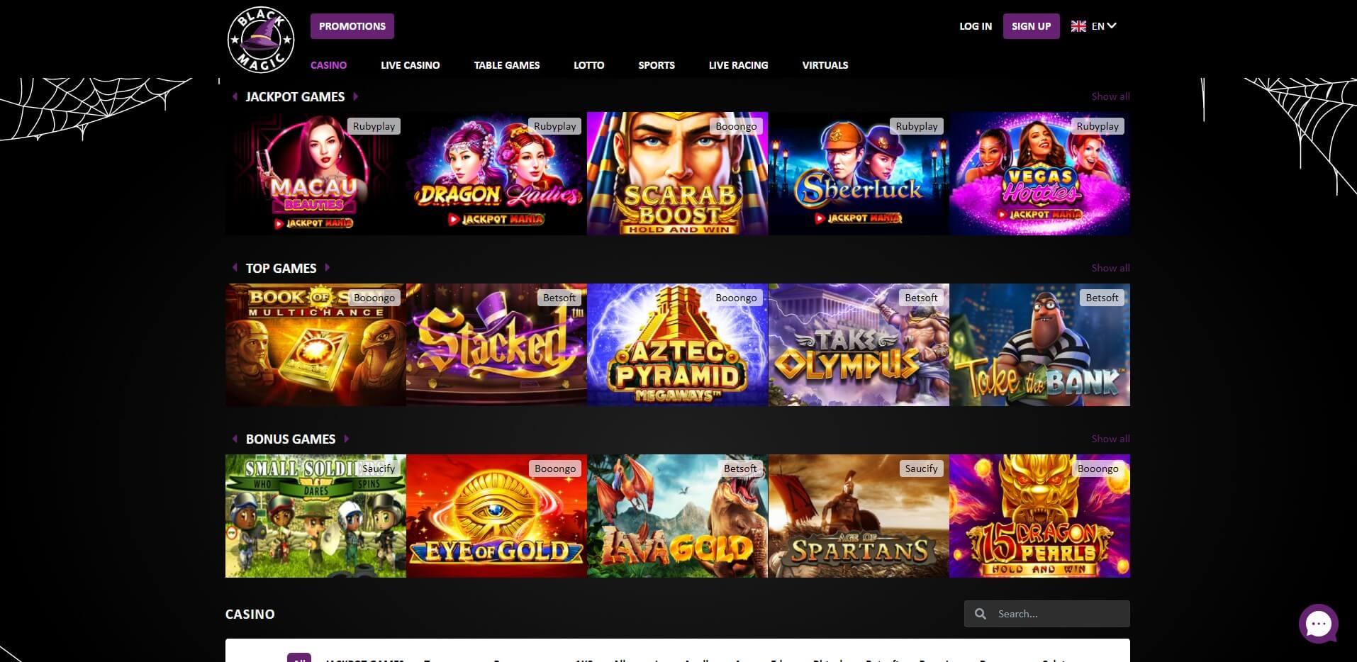 Games at Black Magic Casino