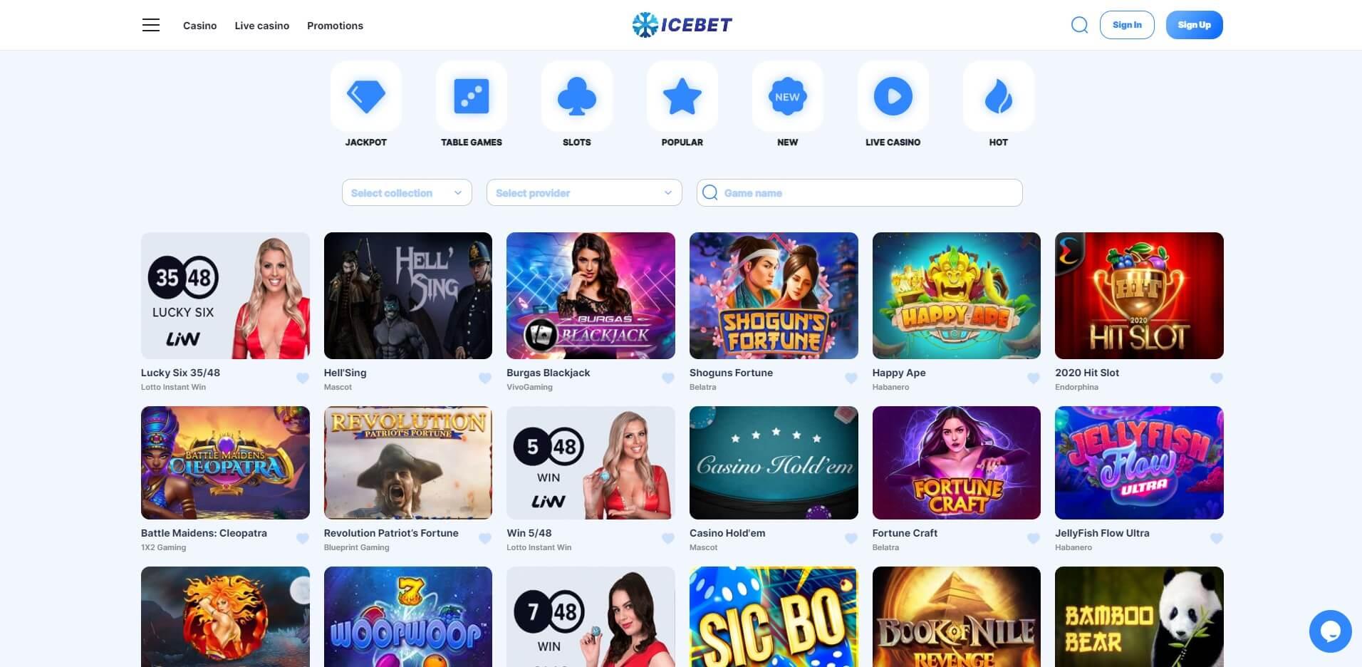 Games at Icebet Casino