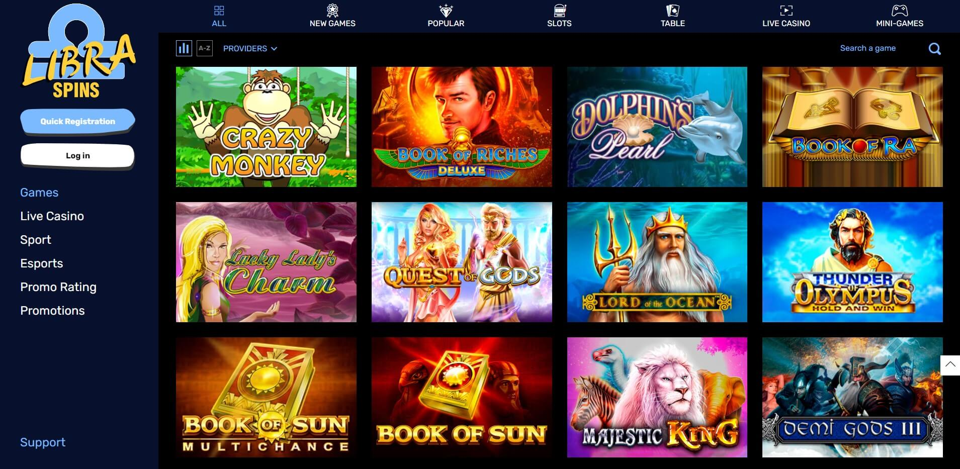 Games at Libra Spins Casino