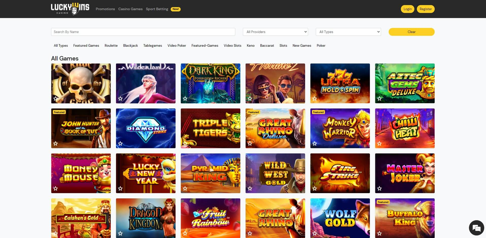 Games at LuckyWins Casino