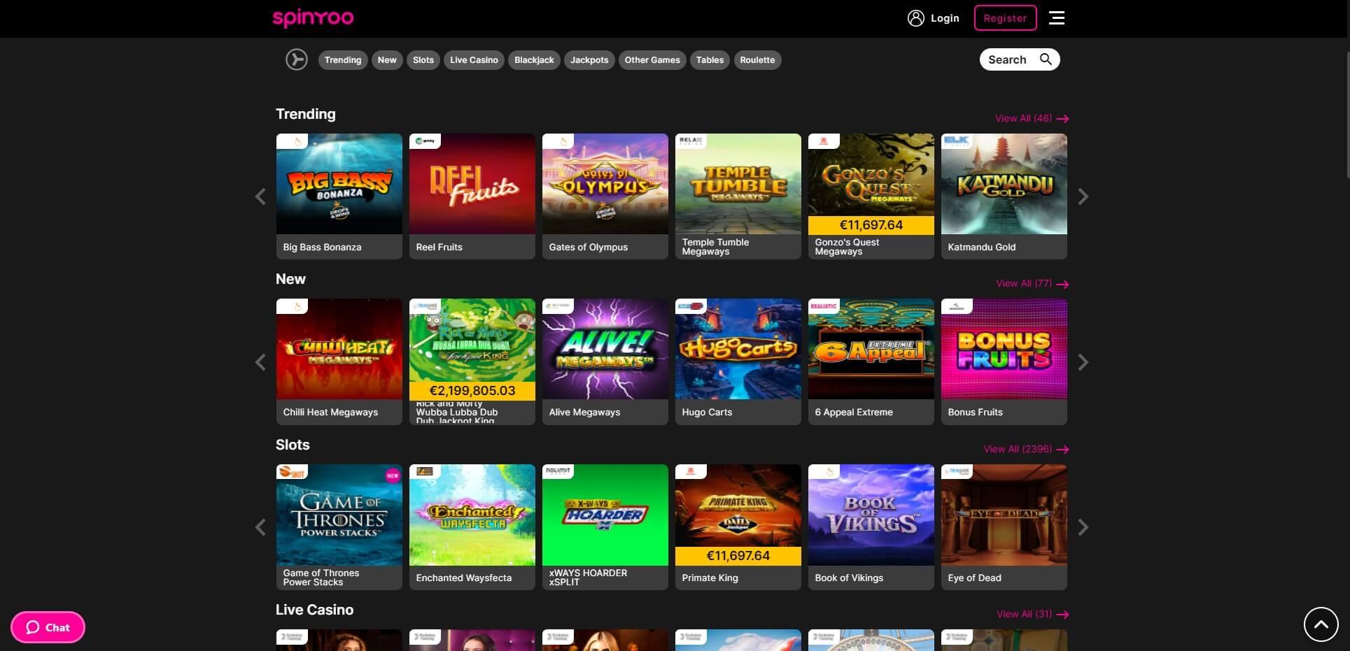 Games at Spinyoo Casino