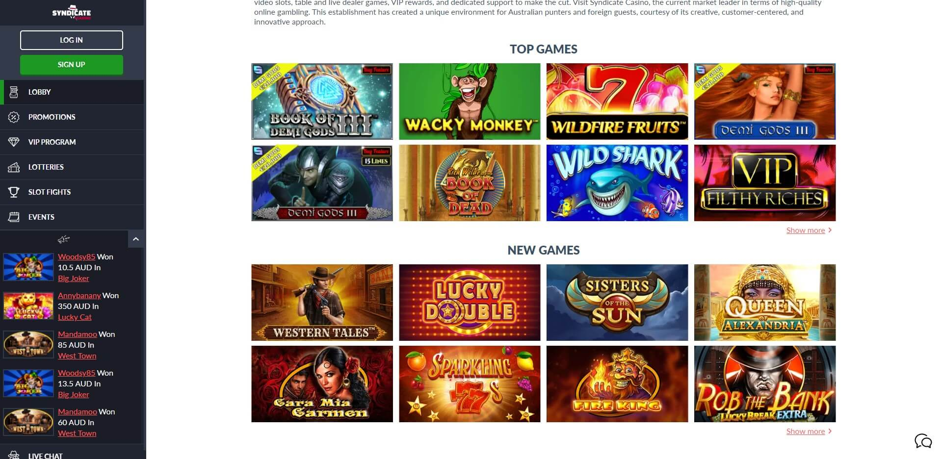 Games at Syndicate Casino