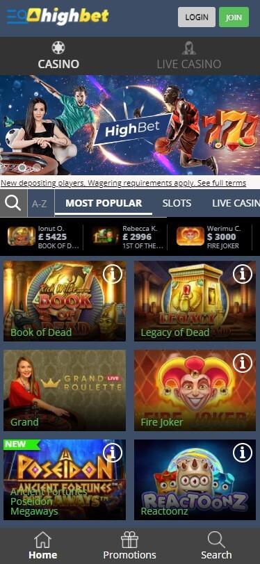 HighBet Casino - Mobile Version