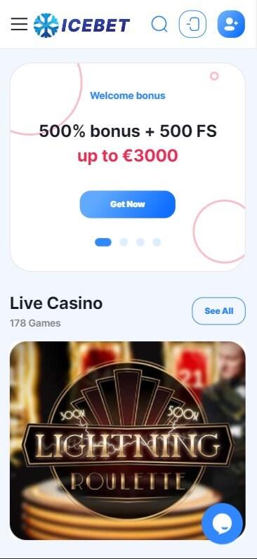 Icebet Casino - Mobile Version