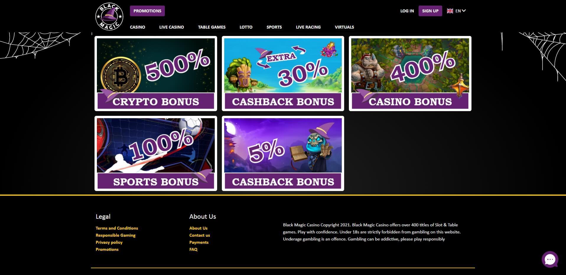Promotions at Black Magic Casino
