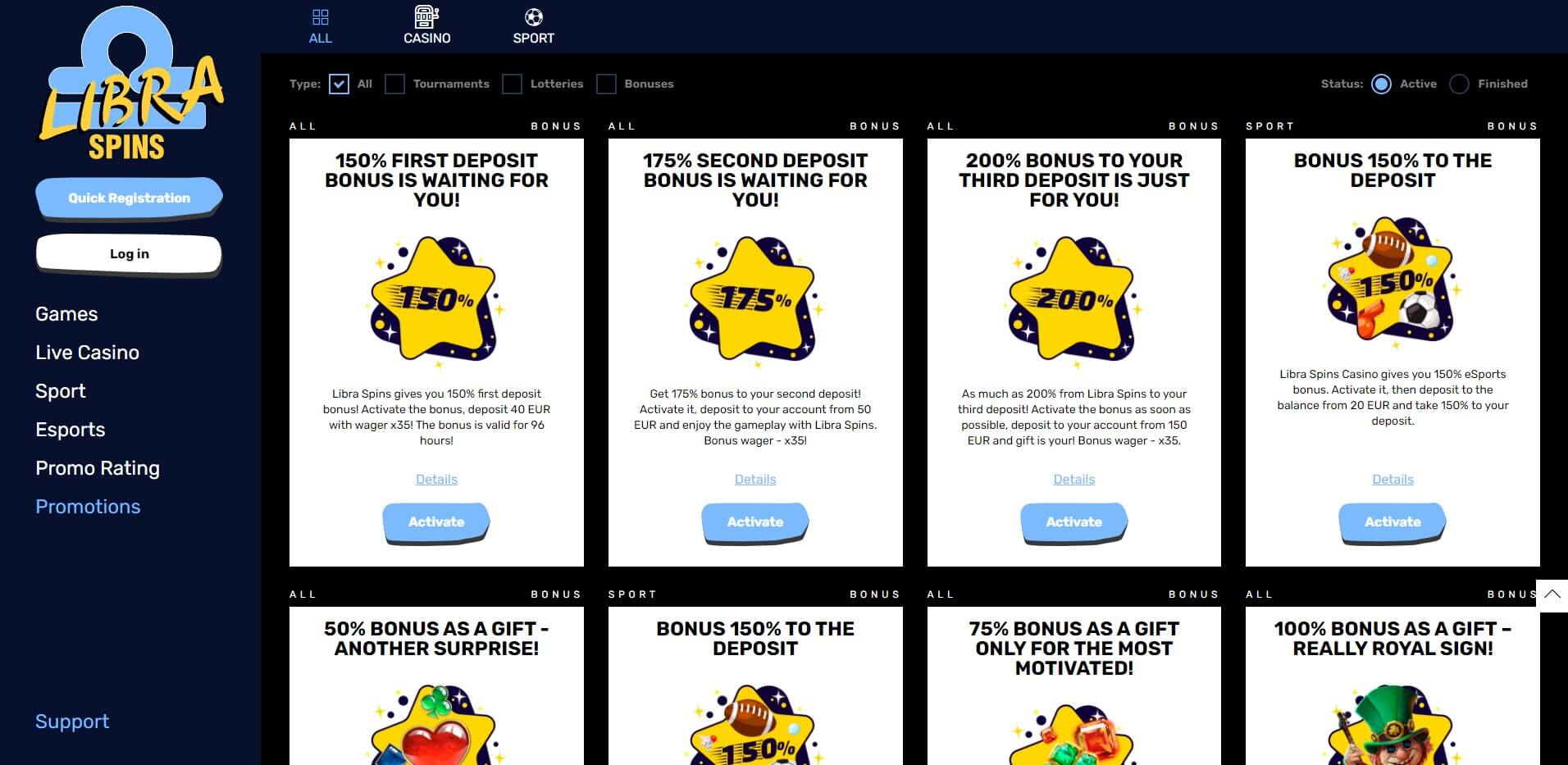 Promotions at Libra Spins Casino