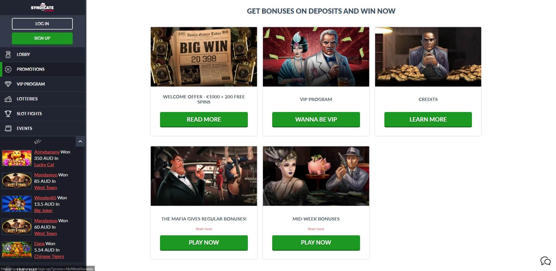 Promotions at Syndicate Casino