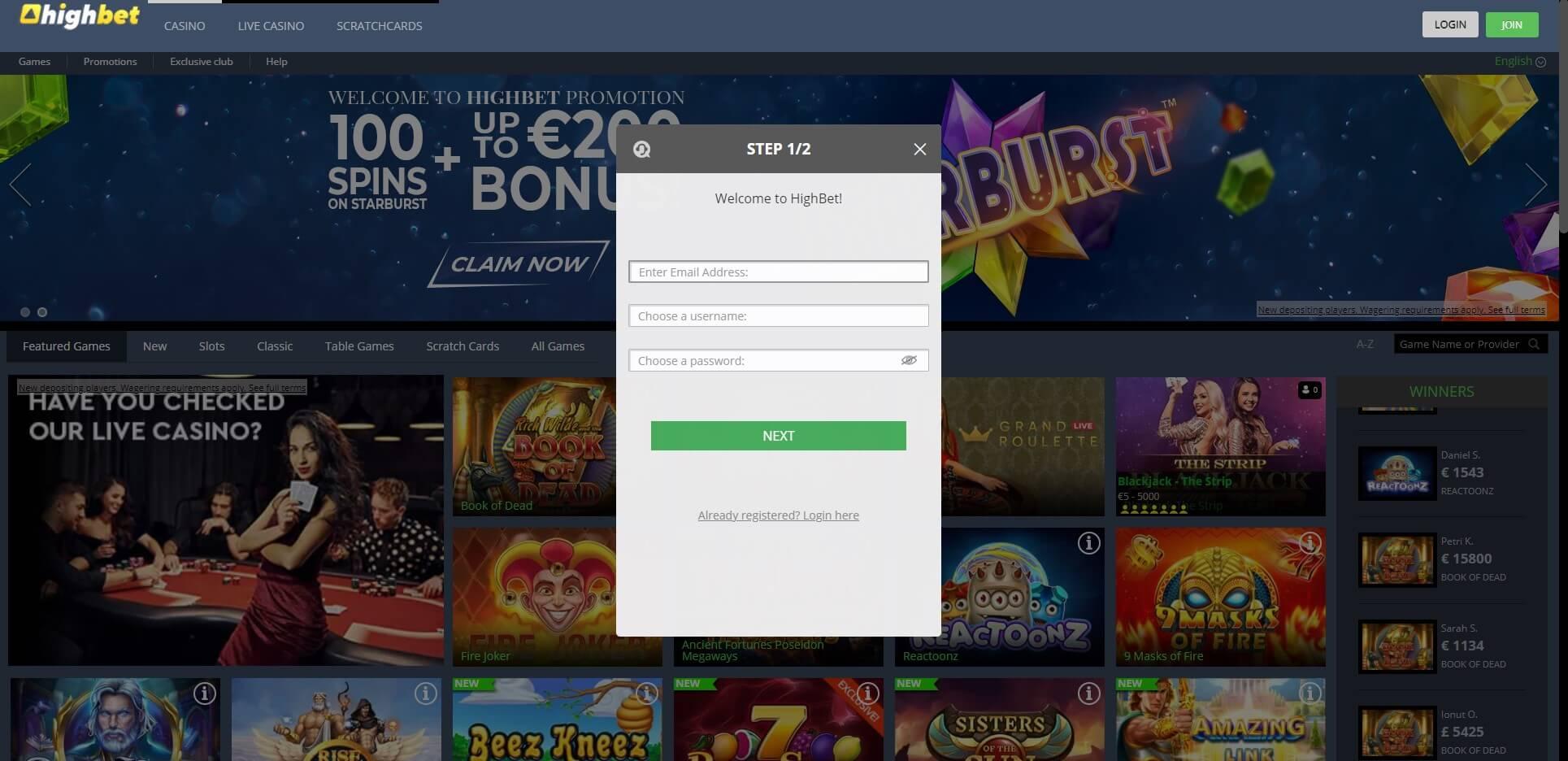 Sign Up at HighBet Casino
