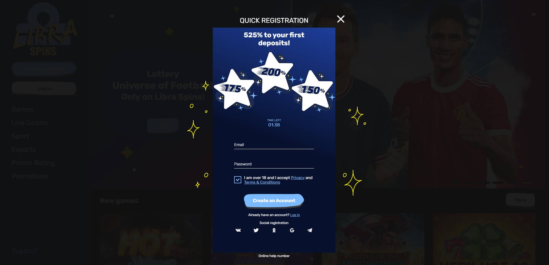 Sign Up at Libra Spins Casino