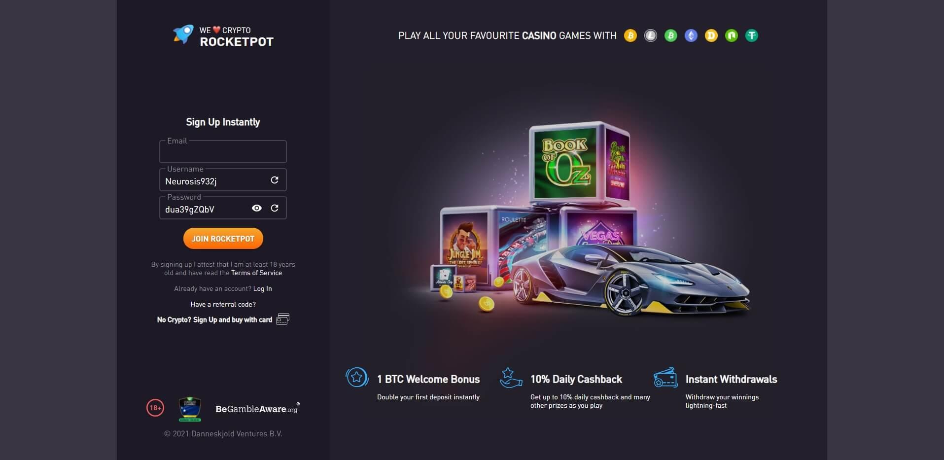 Sign Up at Rocketpot Casino