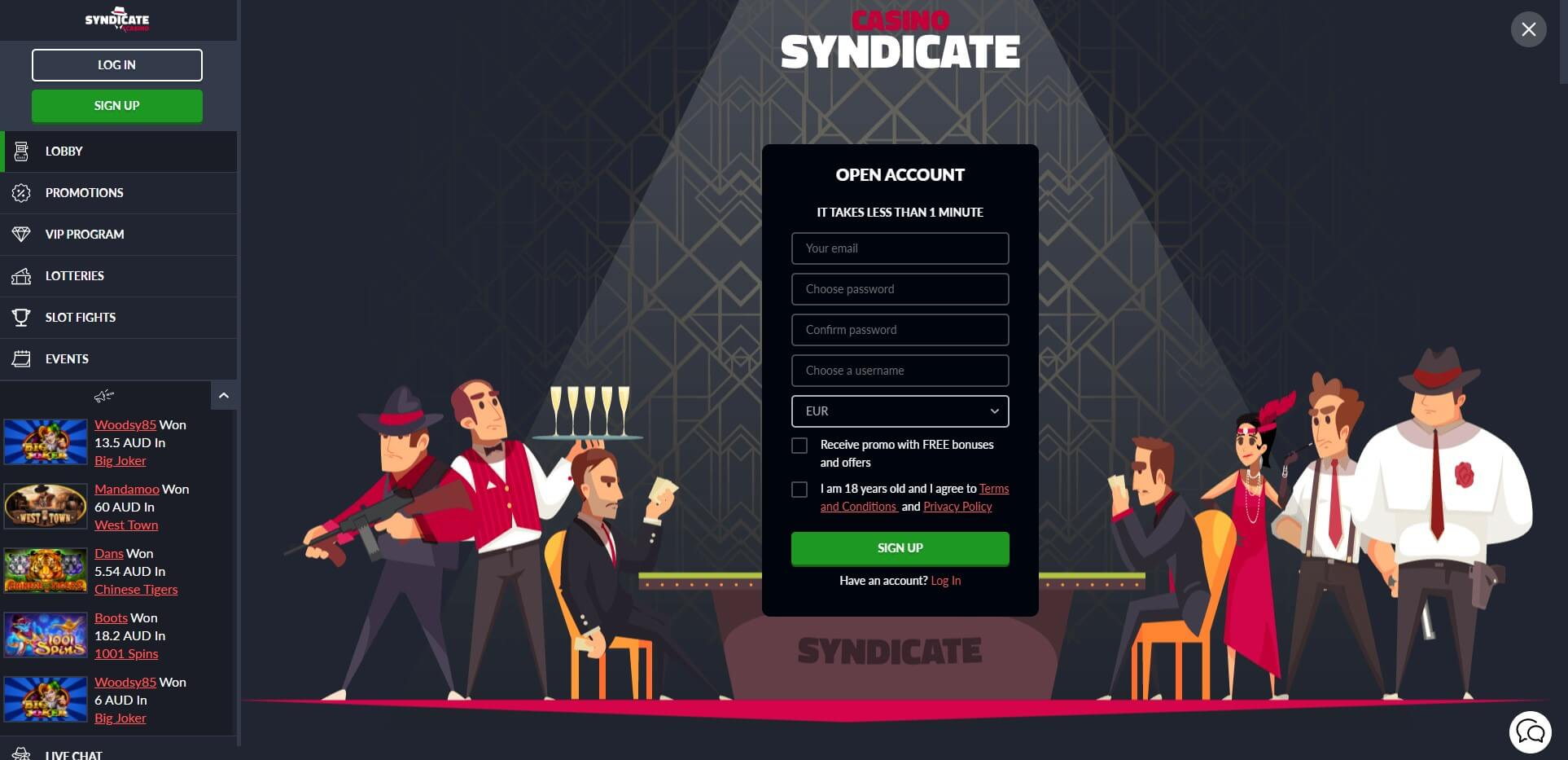 Sign Up at Syndicate Casino