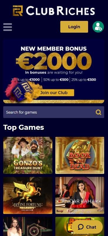 ClubRiches Casino - Mobile Version