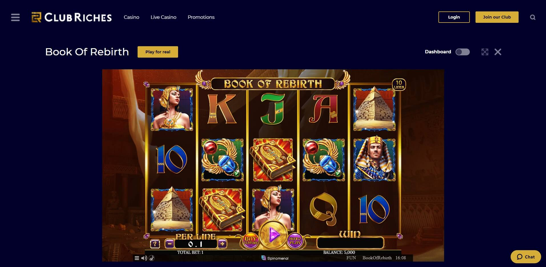 Game Play at ClubRiches Casino