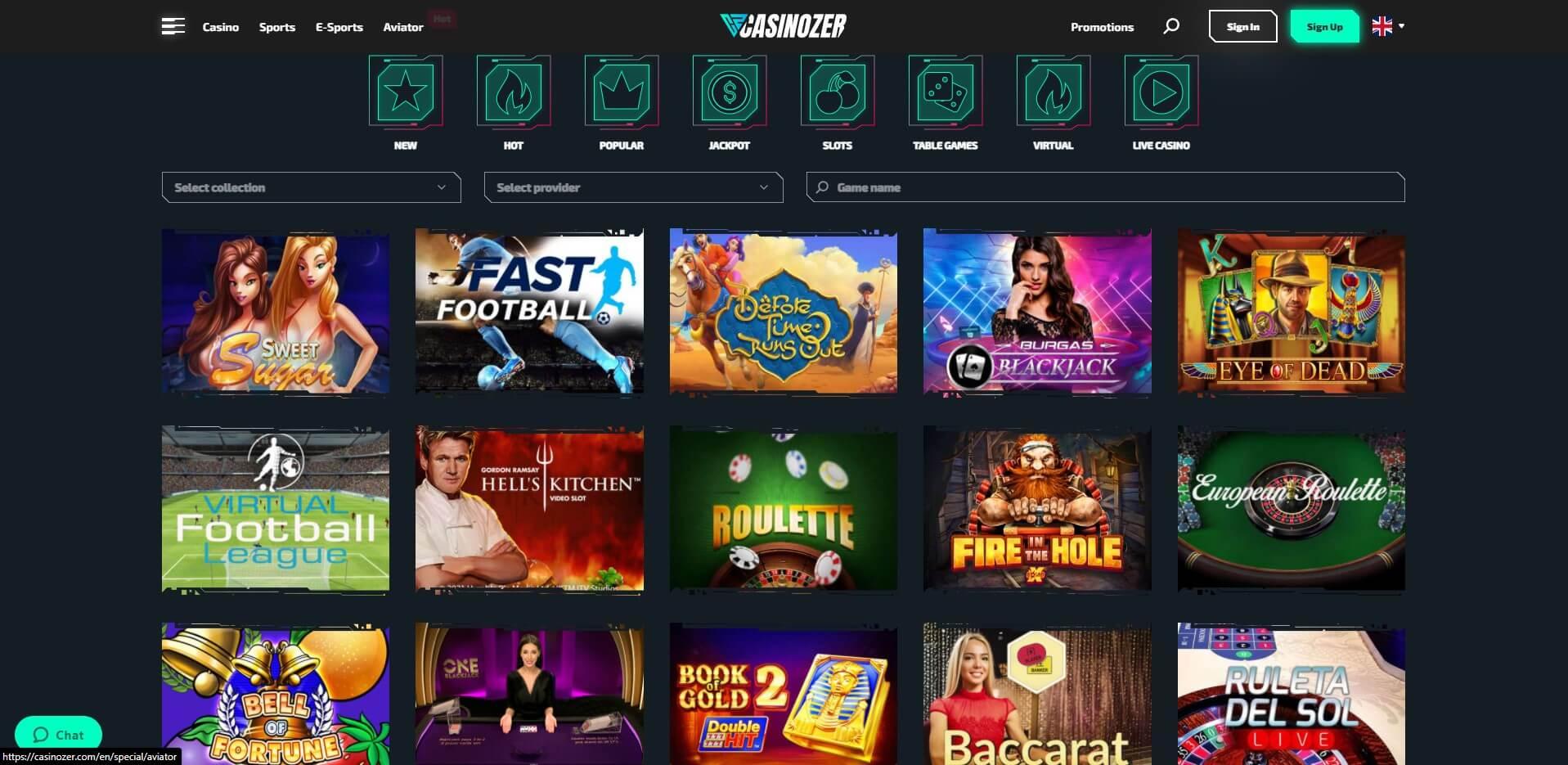 Games at Casinozer Casino
