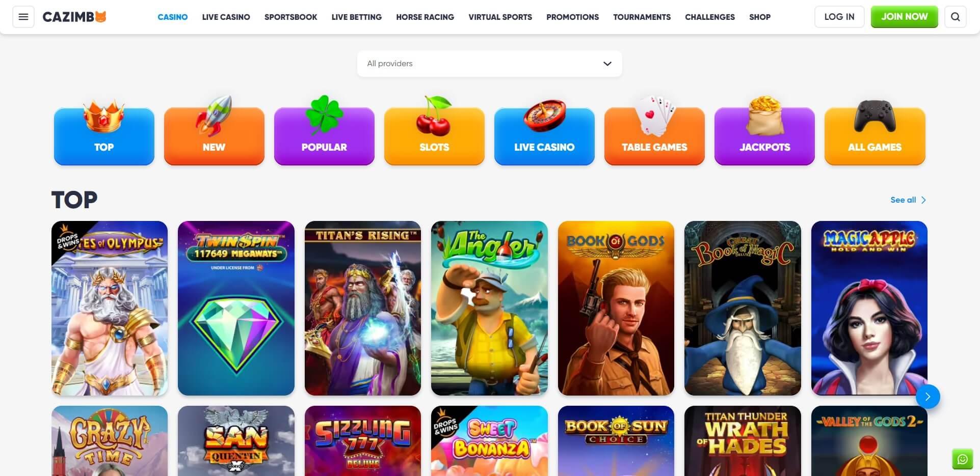 Games at Cazimbo Casino