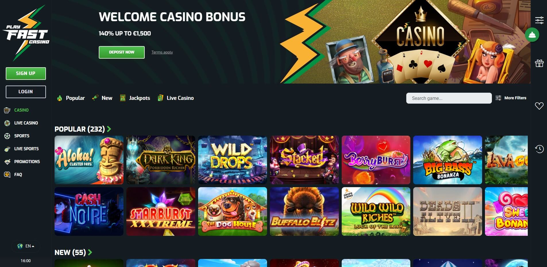 Games at Playfast Casino