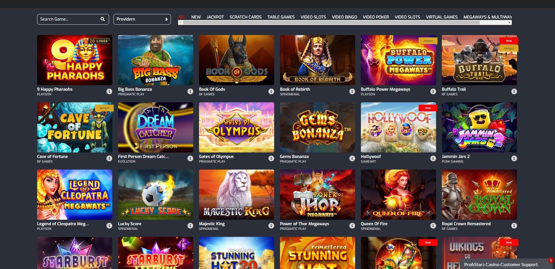 Games at Profistarz Casino