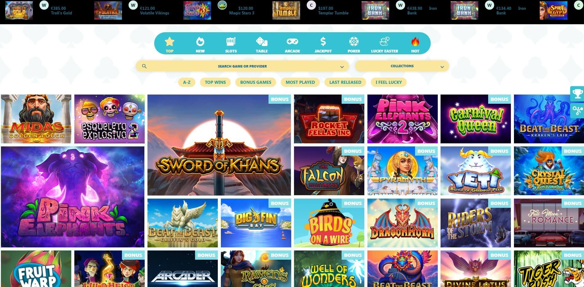 Games at SlotShore Casino